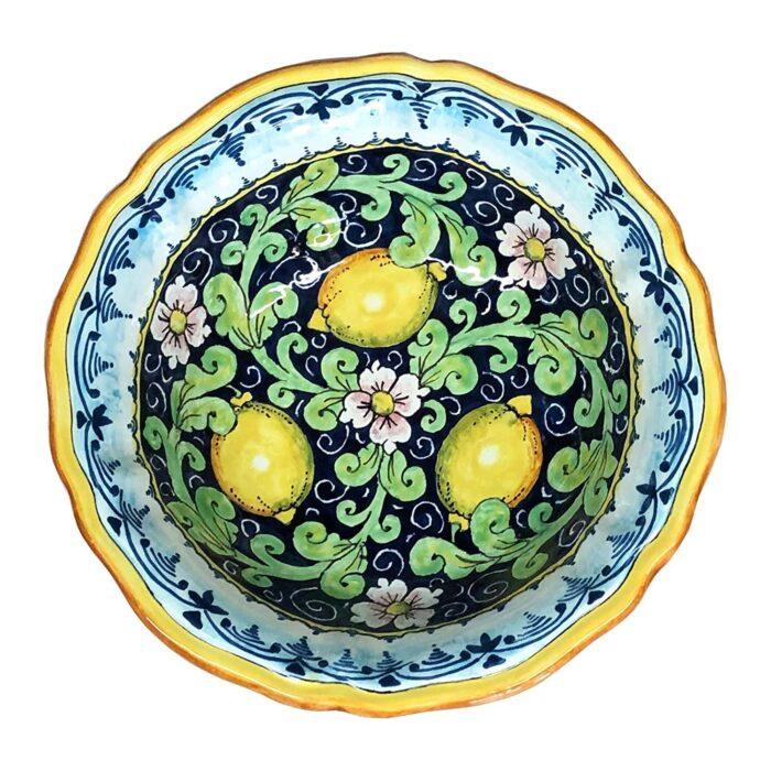 Bowl Lemons blue background