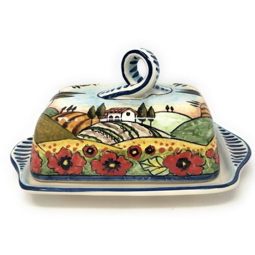 Butter dish landscape poppies