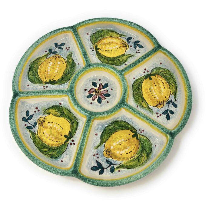 Appetizer tray Lemons white background