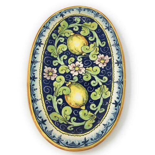 Tray Lemons blue background