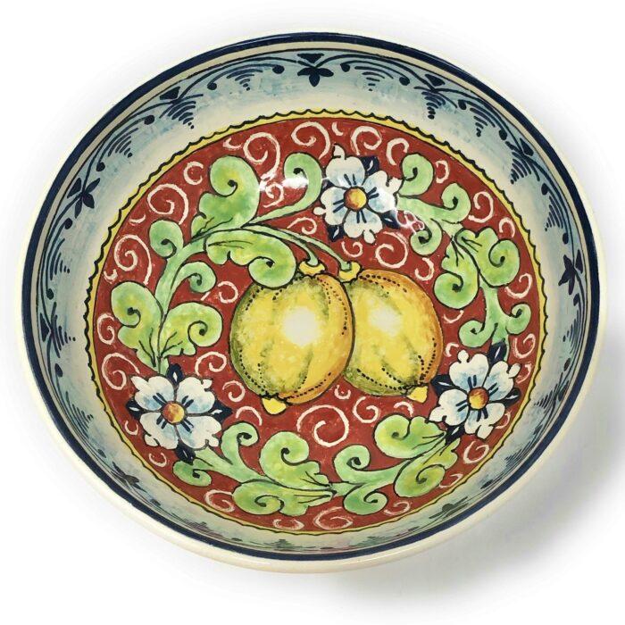 Bowl Lemons red background