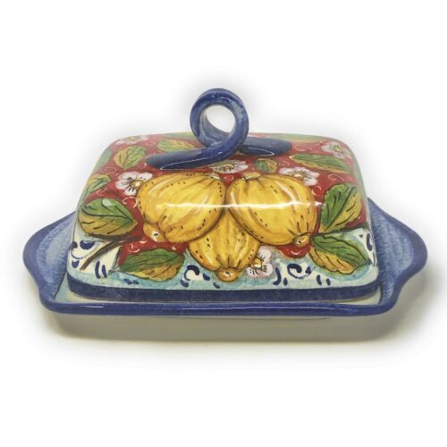 Butter dish Lemons red background