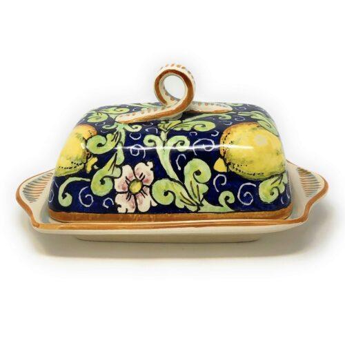 Butter dish Lemons blue background