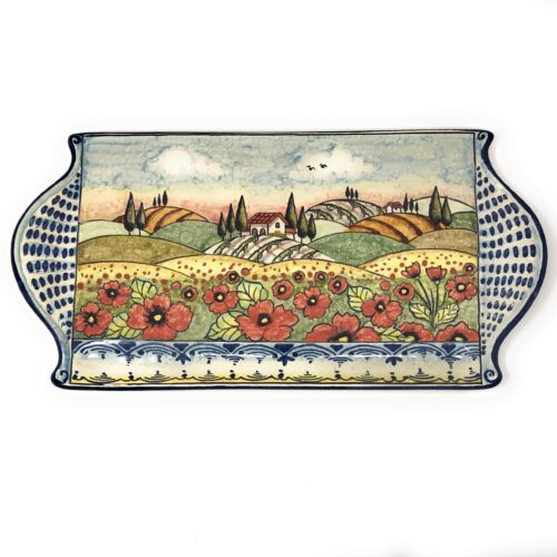 Tray cheese Landscape poppies