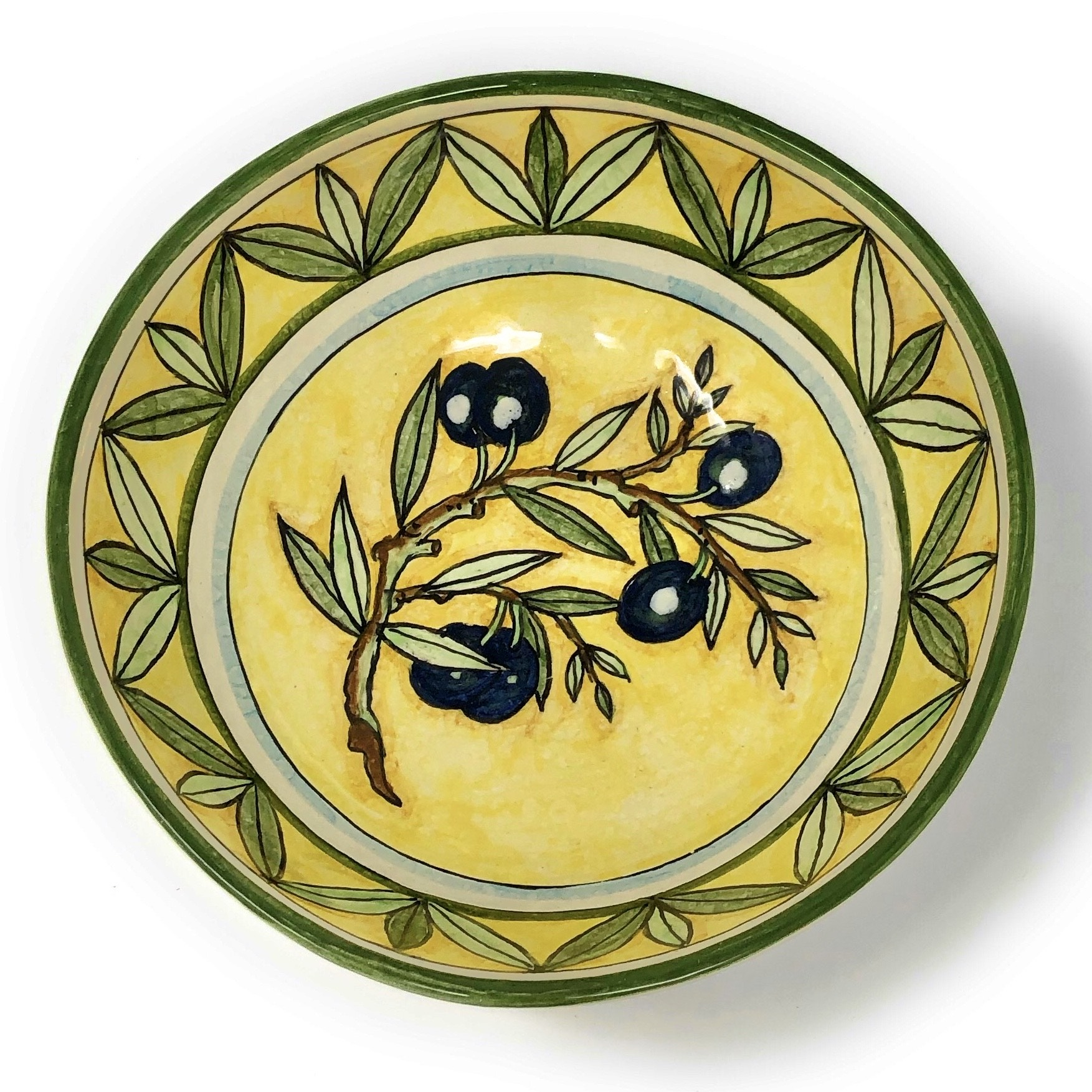 Bowl Olives yellow background