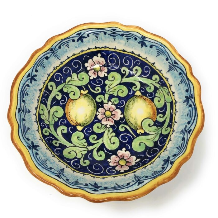 Bowl Lemons blue background