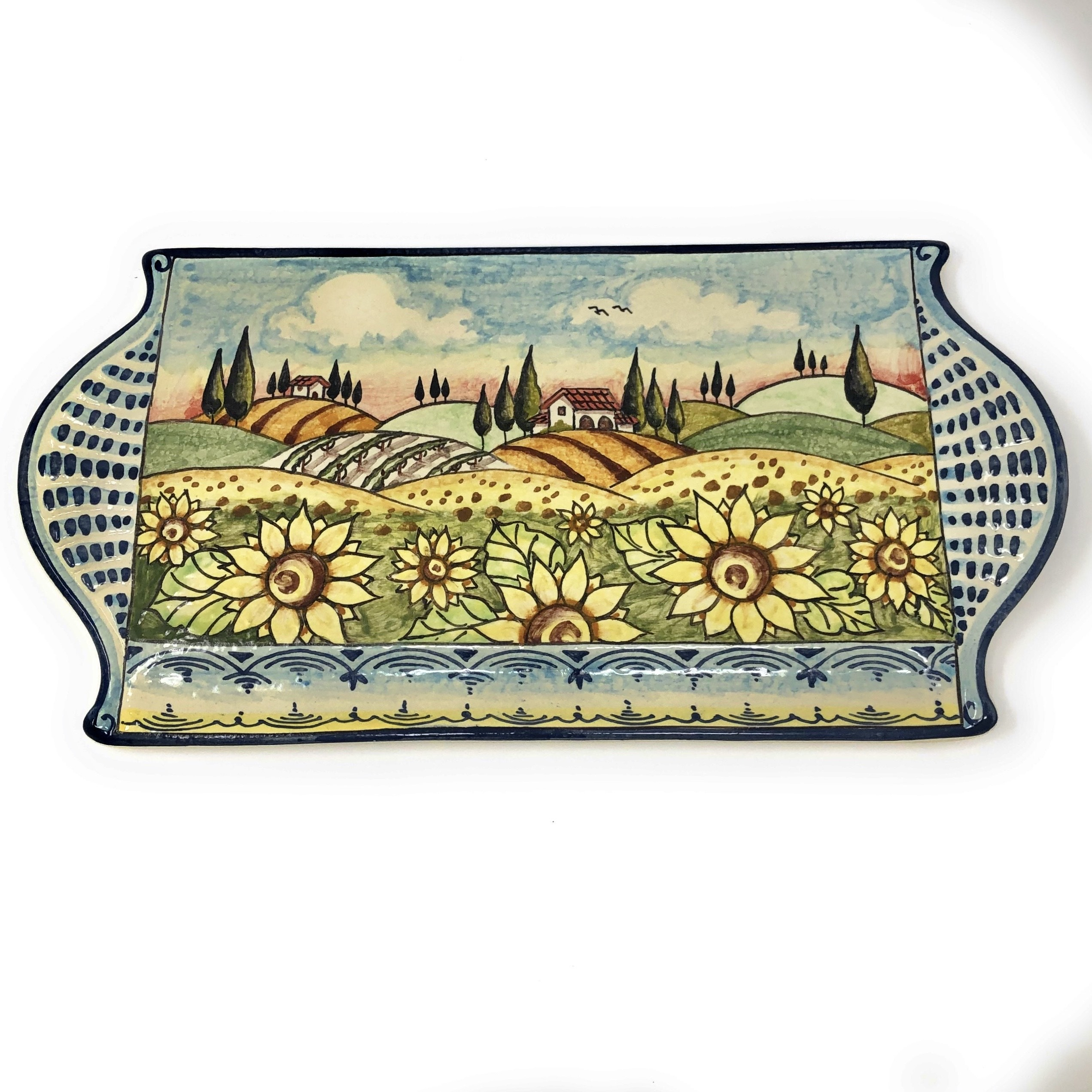 Tray cheese Landscape sunflowers